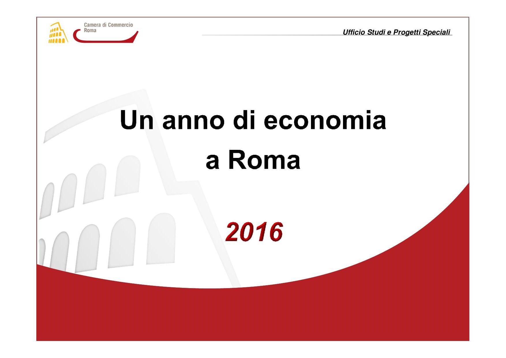 un anno di economia a Roma 2016 copertina
