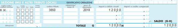 Esempio illustrativo per la sezione del modello F24 per il pagamento del diritto annuale