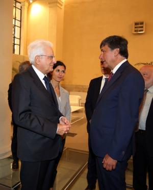 Il Presidente della Repubblica Mattarella con il Presidente della CCIAA Roma Tagliavanti